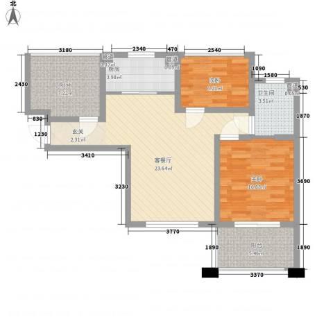 中星・外滩印象花园2室1厅1卫1厨88.00㎡户型图