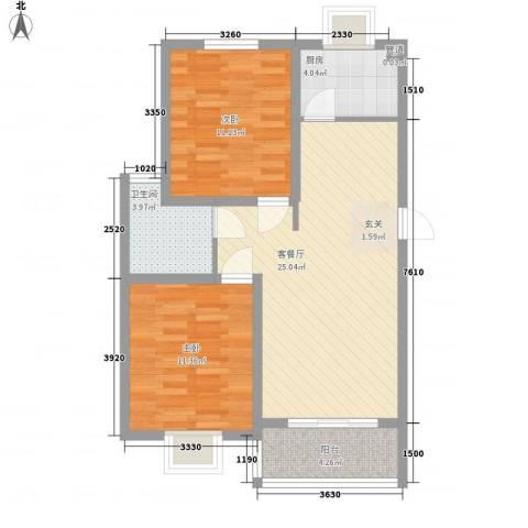 舜江碧水豪园2室1厅1卫1厨69.00㎡户型图