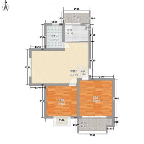 舜江碧水豪园2室1厅1卫1厨67.00㎡户型图