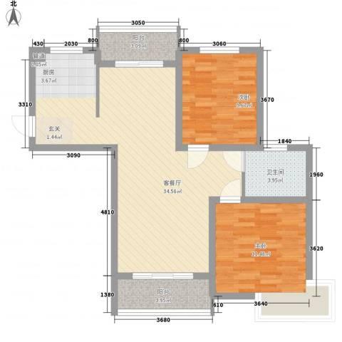 舜江碧水豪园2室1厅1卫0厨77.00㎡户型图