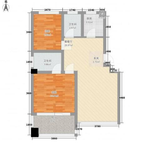 舜江碧水豪园2室1厅2卫1厨72.00㎡户型图