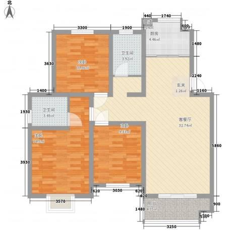 舜江碧水豪园3室1厅2卫1厨96.00㎡户型图