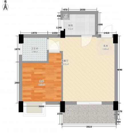 瑞馨阁1室1厅1卫1厨37.91㎡户型图