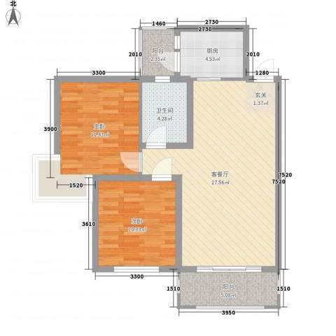 新景花园2室1厅1卫1厨93.00㎡户型图