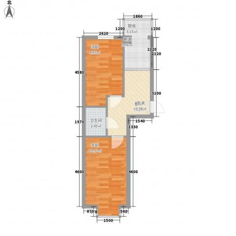 美印雅苑2室1厅1卫1厨55.00㎡户型图