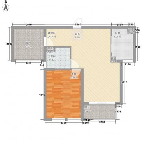 中星・外滩印象花园1室1厅1卫1厨86.00㎡户型图
