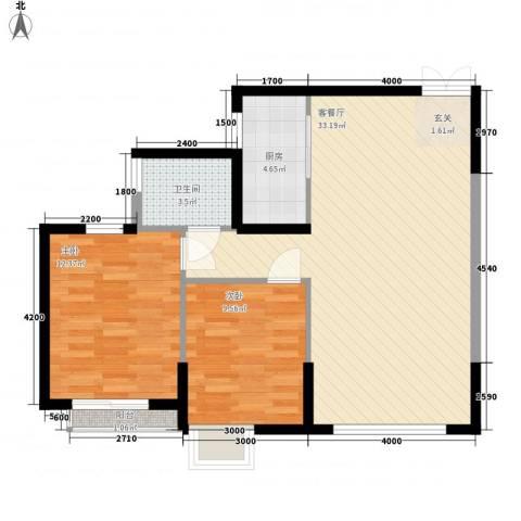 都市广场2室1厅1卫1厨76.00㎡户型图