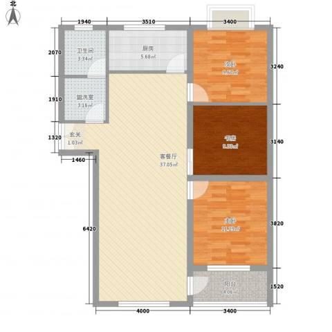 联运家园3室2厅1卫1厨118.00㎡户型图