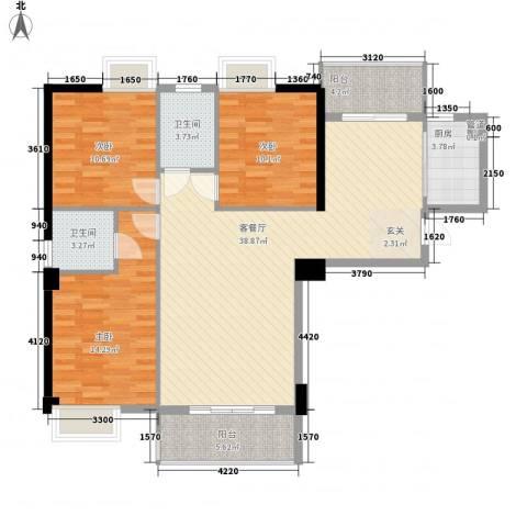 星河城市广场3室1厅2卫1厨132.00㎡户型图