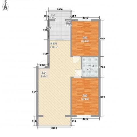 美印雅苑2室1厅1卫1厨88.00㎡户型图