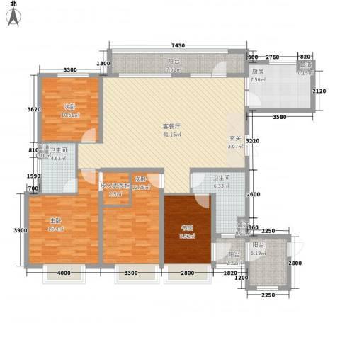 华发九龙湾中心4室1厅2卫1厨125.46㎡户型图