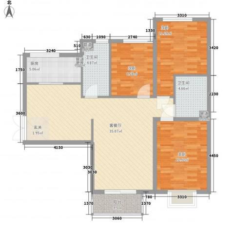 文东苑3室1厅2卫1厨85.96㎡户型图