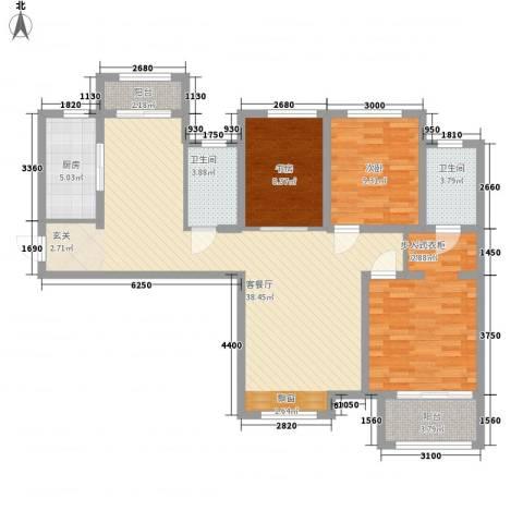 前进社区3室1厅2卫1厨130.00㎡户型图