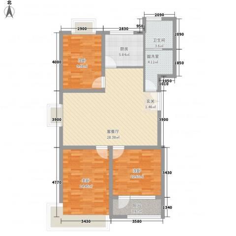 联运家园3室2厅1卫1厨116.00㎡户型图
