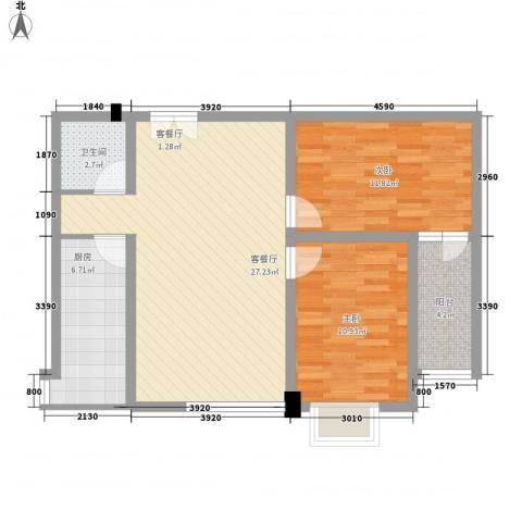 联运家园2室1厅1卫1厨63.59㎡户型图