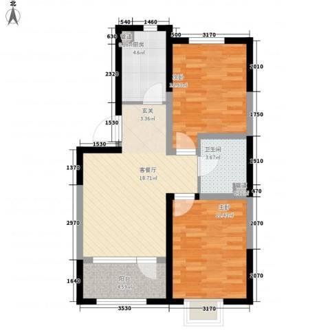 新加坡花园2室1厅1卫1厨79.00㎡户型图