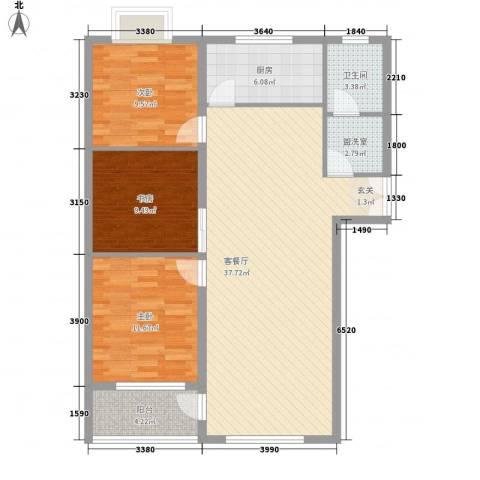 联运家园3室2厅1卫1厨84.94㎡户型图