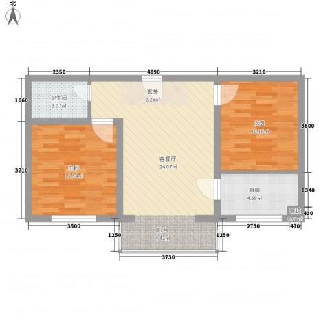 金海花园2室1厅1卫1厨76.00㎡户型图