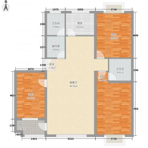 联运家园3室2厅2卫1厨161.00㎡户型图