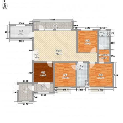 华发九龙湾中心4室1厅2卫1厨158.00㎡户型图