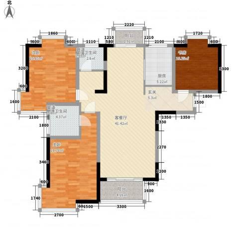 小寨家属院3室1厅2卫1厨118.00㎡户型图