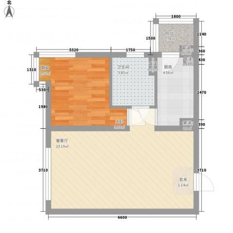 未央区政府家属院1室1厅1卫1厨62.00㎡户型图