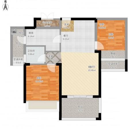 天韵雅苑2室1厅1卫1厨105.00㎡户型图