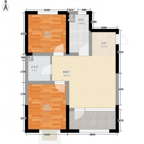 新加坡花园2室1厅1卫1厨77.00㎡户型图