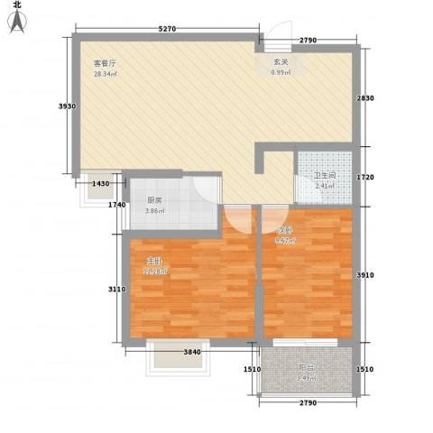 新世纪阳光花园2室1厅1卫1厨84.00㎡户型图