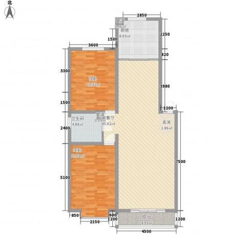 望兴园二期2室1厅1卫1厨120.00㎡户型图