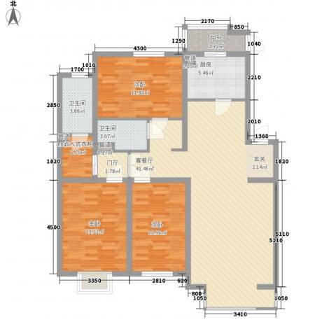 北美家园四期3室1厅2卫1厨140.00㎡户型图
