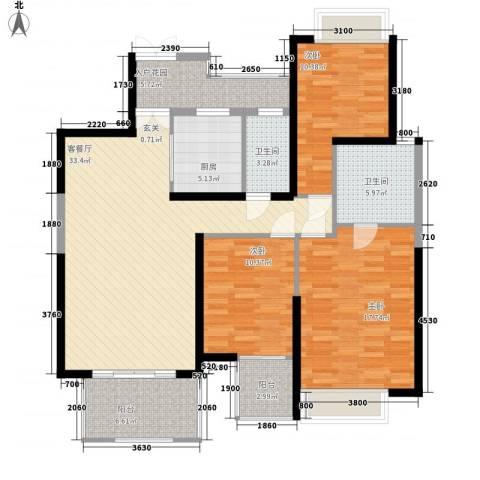 天安・东湖花园3室1厅2卫1厨145.00㎡户型图