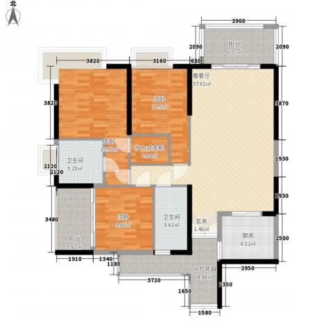 天安・东湖花园3室1厅2卫1厨147.00㎡户型图