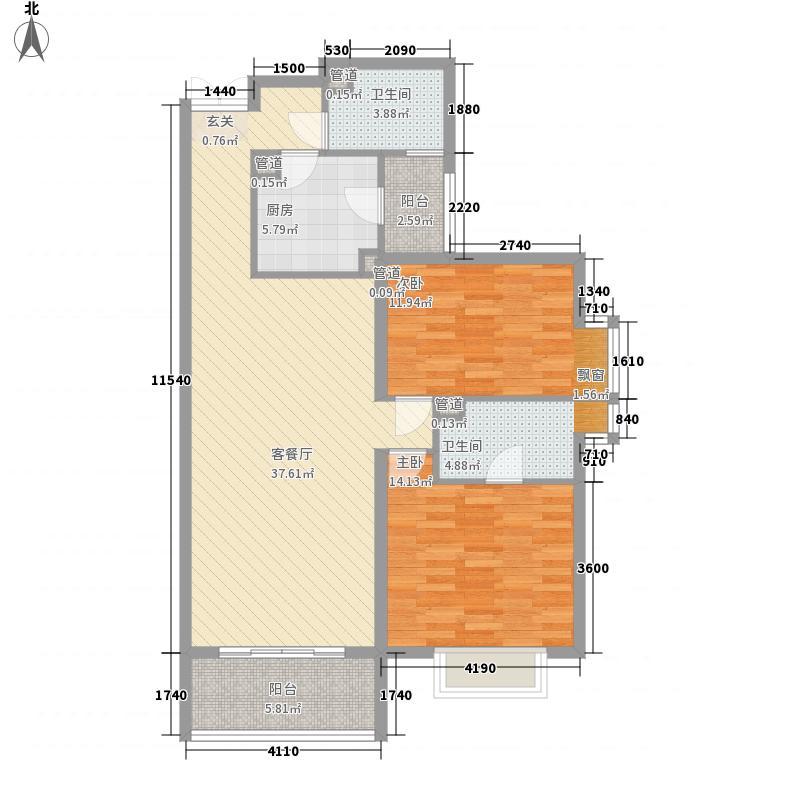 青岛开发区国际贸易中心121.64㎡标准层CD户型2室2厅2卫