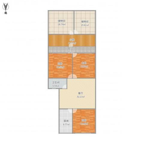 七里河小区3室1厅1卫1厨215.00㎡户型图