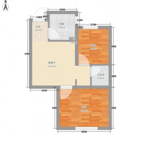 瑞家景峰2室1厅1卫1厨60.00㎡户型图