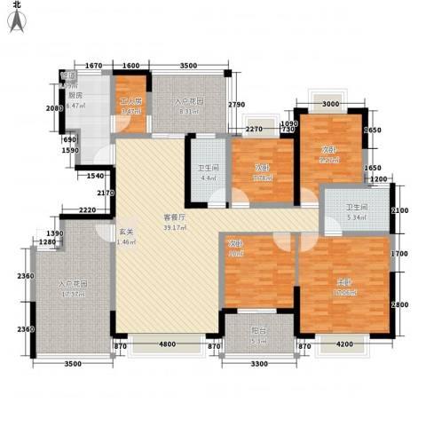 岭南世家二期4室1厅2卫1厨192.00㎡户型图