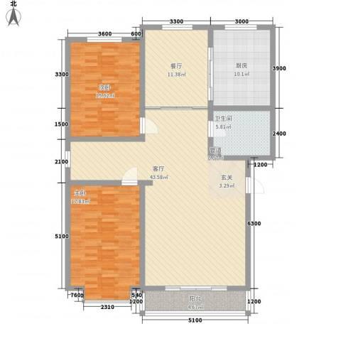 望兴园二期2室2厅1卫1厨136.00㎡户型图