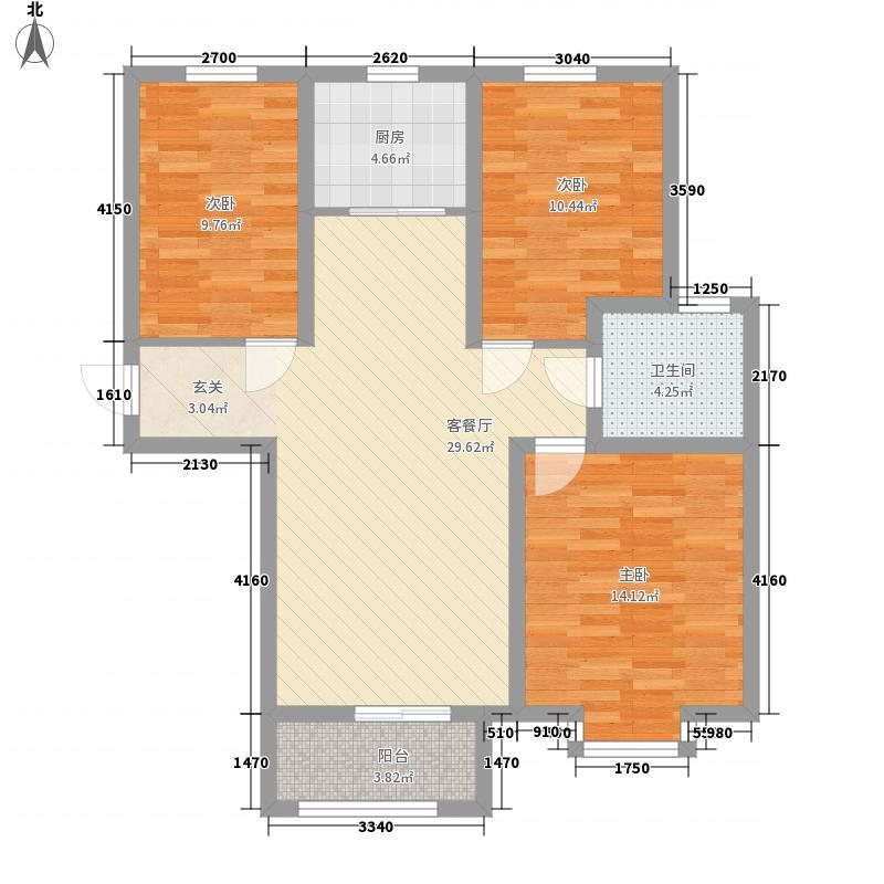 东城绿庭14.52㎡三期D'户型3室2厅1卫1厨