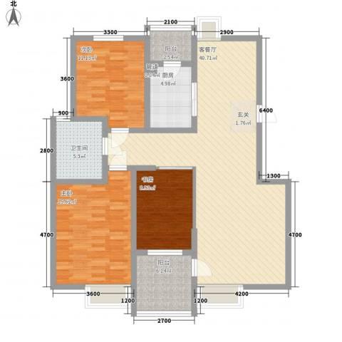 泊岸华庭3室1厅1卫1厨136.00㎡户型图