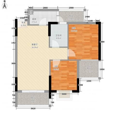 岭南世家二期2室1厅1卫1厨95.00㎡户型图