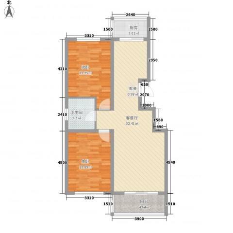 龙源三期2室1厅1卫1厨101.00㎡户型图