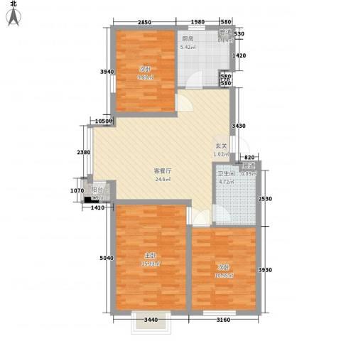 北美家园四期3室1厅1卫1厨102.00㎡户型图