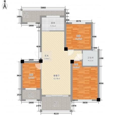 青林嘉园3室1厅1卫1厨111.00㎡户型图