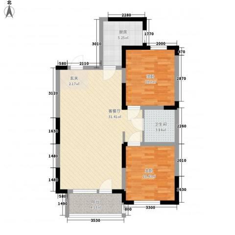 北美家园四期2室1厅1卫1厨94.00㎡户型图