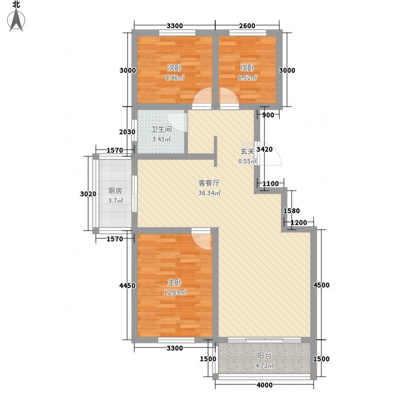 龙源三期户型图C1户型 3室2厅1卫1厨