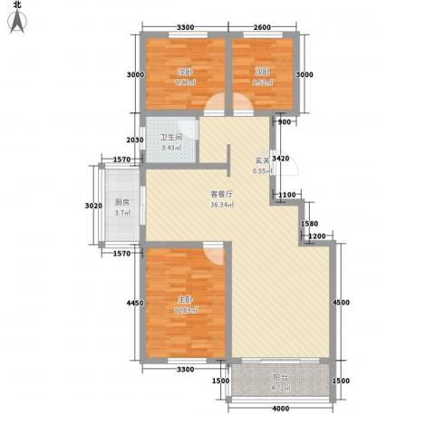 龙源三期3室1厅1卫1厨110.00㎡户型图