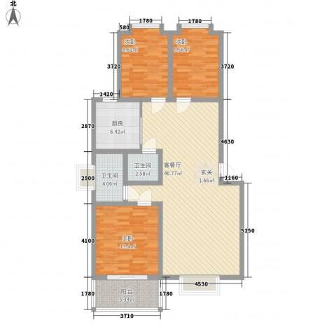 水岸新城3室1厅2卫1厨132.00㎡户型图