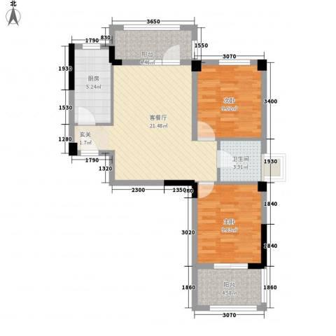 时代华府2室1厅1卫1厨83.00㎡户型图