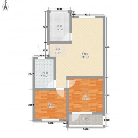 美里西湖印象2室1厅1卫1厨87.00㎡户型图